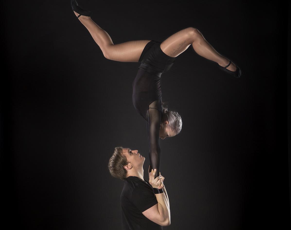 Lauri and Siiri doing partner acrobatics
