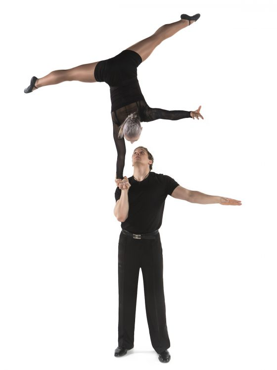 Magician Lauri doing partner acrobatics
