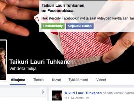 Taikuri Lauri Tuhkasen facebook sivuston kuvakaappaus